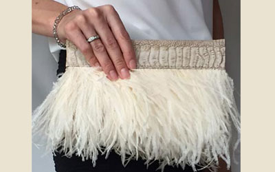 Rarity Ostrich Feather Clutch Bag Ivory
