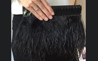 Rarity Ostrich Feather Clutch Bag Black