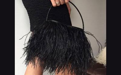 Rarity Ostrich Feather Evening Bag Black