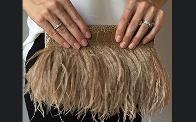 Rarity Ostrich Feather Clutch Bag Beige