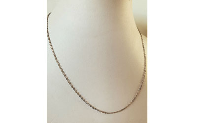 9K White Gold Anchor Chain 45cm