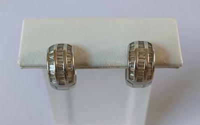 18K White Gold Baguette Diamond Huggie Earrings